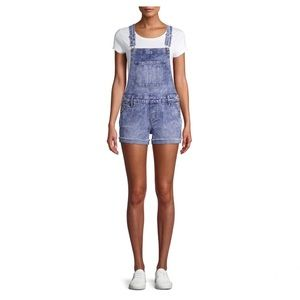 No Boundaries Relaxed Fit Denim Bib Overall Shorts